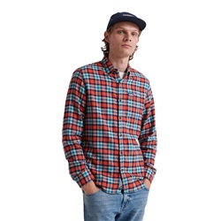 Superdry Workwear Lite Long Sleeved Shirt - Orange Check