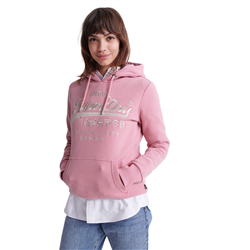 Superdry Prem Goods Luxe Embroidered Hoody - Pink Nectar