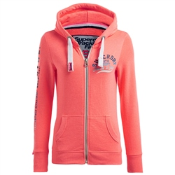 Superdry Track & Field Zipped Hoody - Coral
