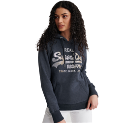 Superdry Vintage Logo Stitch Sequin Hoody - Eclispe Navy Marl