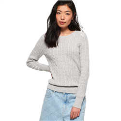 Superdry Croyde Cable Knit Jumper - Ice Grey Marl