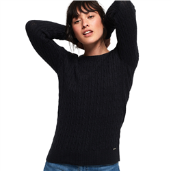 Superdry Croyde Cable Knit Jumper - Rinse Navy