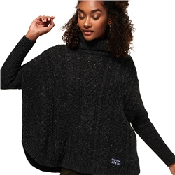 Superdry Pia Nep Cable Cape Jumper - Charcoal Nep