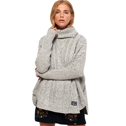 Superdry Pia Nep Cable Cape Jumper - Grey Nep