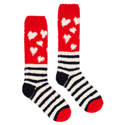 Joules Fabulous Fluffy Sock - Navy Heart Stripes