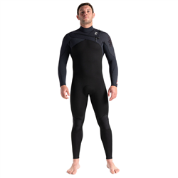C-Skins ReWired 3/2mm Chest Zip Wetsuit (2021) - Black & Warm Red