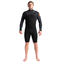 C-Skins Session 3/2mm Chest Zip Spring Wetsuit (2021) - Black, Carbon & Warm Red