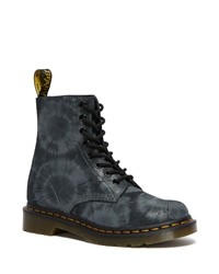 Dr Martens 1460 Pascal Tie Dye Printed Suede Boots - Black & Charcoal Grey