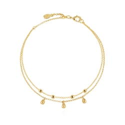 Joma Jewellery Dainty Double Chain Anklet - Gold