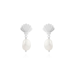 Joma Jewellery Serena Shell Pearl Earrings - Silver
