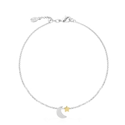 Joma Jewellery Two Tone Moon & Star Anklet - Silver & Gold