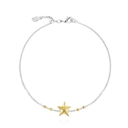 Joma Jewellery Two Tone Starfish Anklet - Gold & Silver