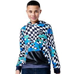Hype Glitched Check Hoody - Blue & Black