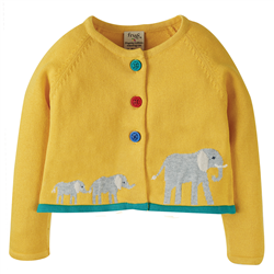 Frugi Little Annie Cardigan - Bumble Bee & Elephant