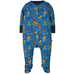 Frugi Lovely Babygrow - Colbalt Big Cats