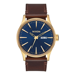 Nixon Sentry Leather Watch - Polished Gold & Navy Sunray
