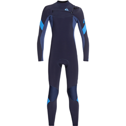 Quiksilver Junior Syncro 3/2mm GBS Chest Zip Wetsuit (2021) - Dark Navy & Iodine Blue