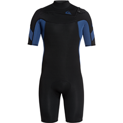 Quiksilver 2mm Syncro Chest Zip Shorty Wetsuit (2021) - Black & Blue