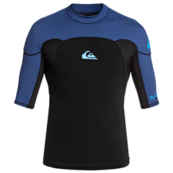 Quiksilver Syncro 1mm Short Sleeve Surf Top - Black & Blue