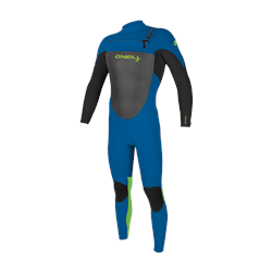 O'Neill Youth Epic 3/2mm Chest Zip Wetsuit (2021) - Ocean, Black & Day Glo