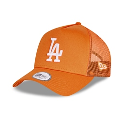 New Era Los Angeles Dodgers Tonal Mesh Trucker Cap - Orange & White