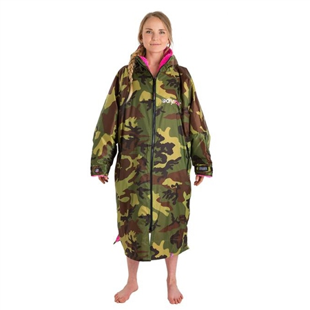 Dryrobe Small Long Sleeved Dry Robe - Camo & Pink  - Click to view a larger image