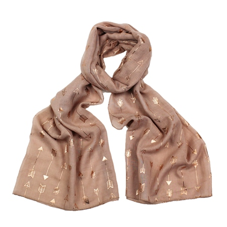 F & J Collection Foil Arrow Scarf - Pink  - Click to view a larger image