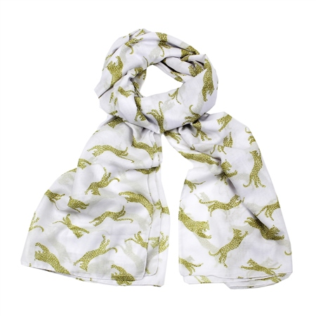 F & J Collection Leopard Scarf - White  - Click to view a larger image