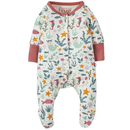 Frugi Lovely Lil Babygrow - Mermaid  - Click to view a larger image