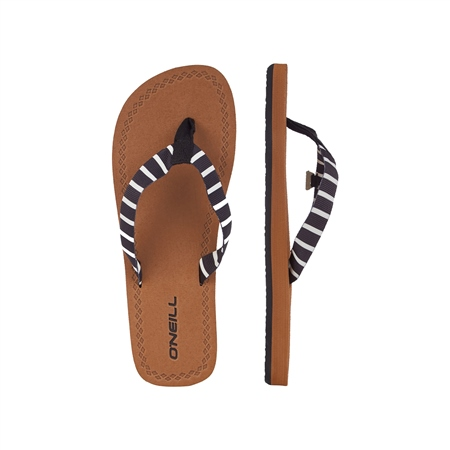 O'Neill Woven Strap Flip Flops - Black & White  - Click to view a larger image