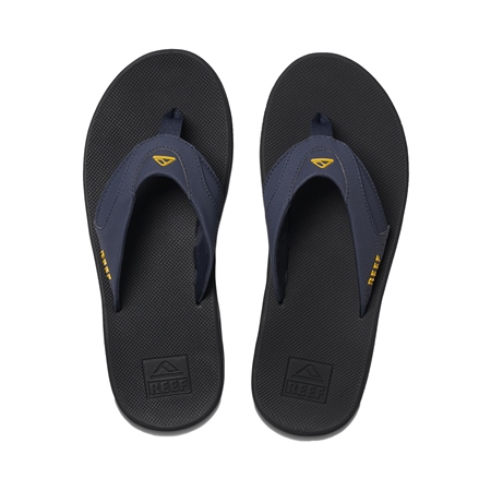 Reef Fanning Flip Flops - Navy & Yellow  - Click to view a larger image