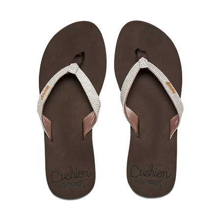 Reef Star Cushion Sass Flip Flops - Brown & White  - Click to view a larger image