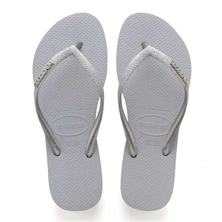 Havaianas Slim Glitter Flip Flops - Grey  - Click to view a larger image