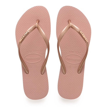 Havaianas Slim Logo Metallic Flip Flops - Rose  - Click to view a larger image