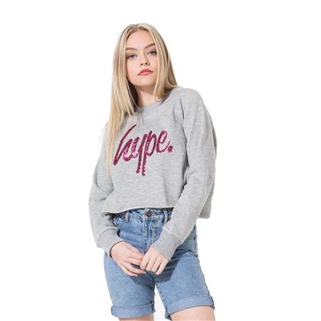 Hype Sequin Sweatshirt - Grey & Pink  - Click to view a larger image