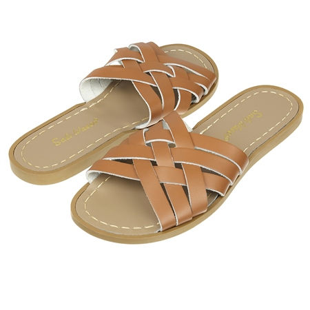 Salt-Water Retro Slide Sandals  - Tan  - Click to view a larger image