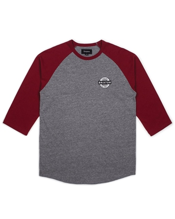 Brixton Speedway T-Shirt - Grey & Burgundy  - Click to view a larger image