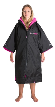 Dryrobe Short Sleeved DryRobe Extra Small  - Black & Pink  - Click to view a larger image