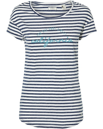 O'Neill Stripe Script T-Shirt - White & Blue  - Click to view a larger image