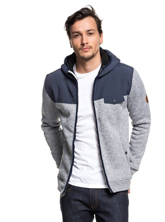 Quiksilver Keller Zipped Fleece - Blue Nights  - Click to view a larger image