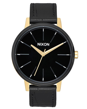 Nixon Kensington Leather 2 Watch - Gold & Black  - Click to view a larger image