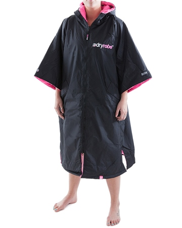 Dryrobe Short Sleeved Adult Dryrobe in Black & Pink  - Click to view a larger image