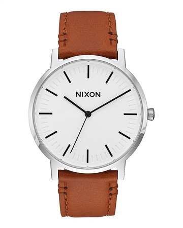 Nixon Porter Leather Watch - Brown  - Click to view a larger image