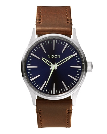 Nixon Sentry 38 Leather Watch - Blue & Brown   - Click to view a larger image