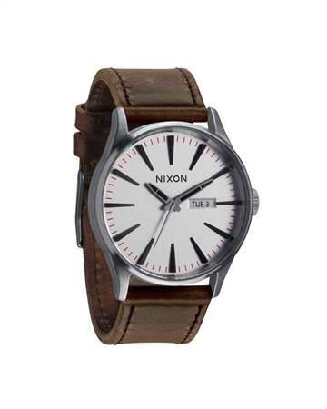 Nixon Sentry Leather Watch - Silver   - Click to view a larger image