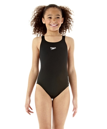 Speedo Girls Medalist End Swimsuit - Black  - Click to view a larger image