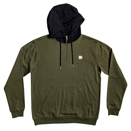 DC Shoes Rebel Half Zipped Hoody - Green & Black  - Click to view a larger image
