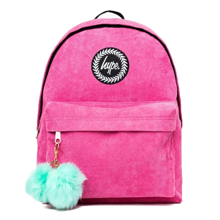 Hype Cord Pom Backpack - Pink & Mint  - Click to view a larger image