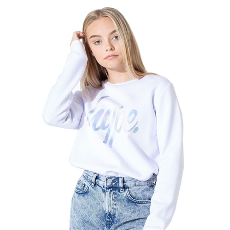 Hype Iridescent Script Sweatshirt - White  - Click to view a larger image