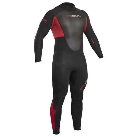 Gul Mens Response Back Zip 3/2mm Wetsuit - Black & Red  - Click to view a larger image